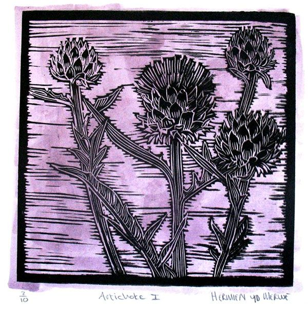 Title: Artichoke I (Light Purple) Medium: Linotype Edition: 2/10 Size: 200 x 200mm Artists thoughts: Artichokes are wholesome food with deeper symbolic meaning to me. The vegetable needs to be cooked well to be enjoyed. The hard outer layers need to be peeled away to get to the heart of the artichoke. God also peeles away our outer layers to get to our heart – He is interested in our hearts.
