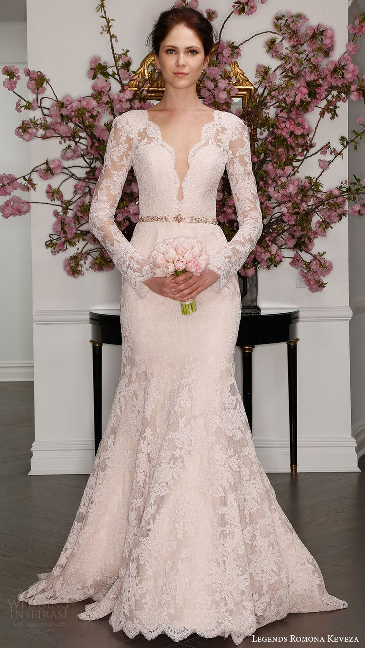 Legends Romona Keveza Bridal Spring 2017 Illusion Long Sleeves Deep V Lace Trumpet Wedding Dress