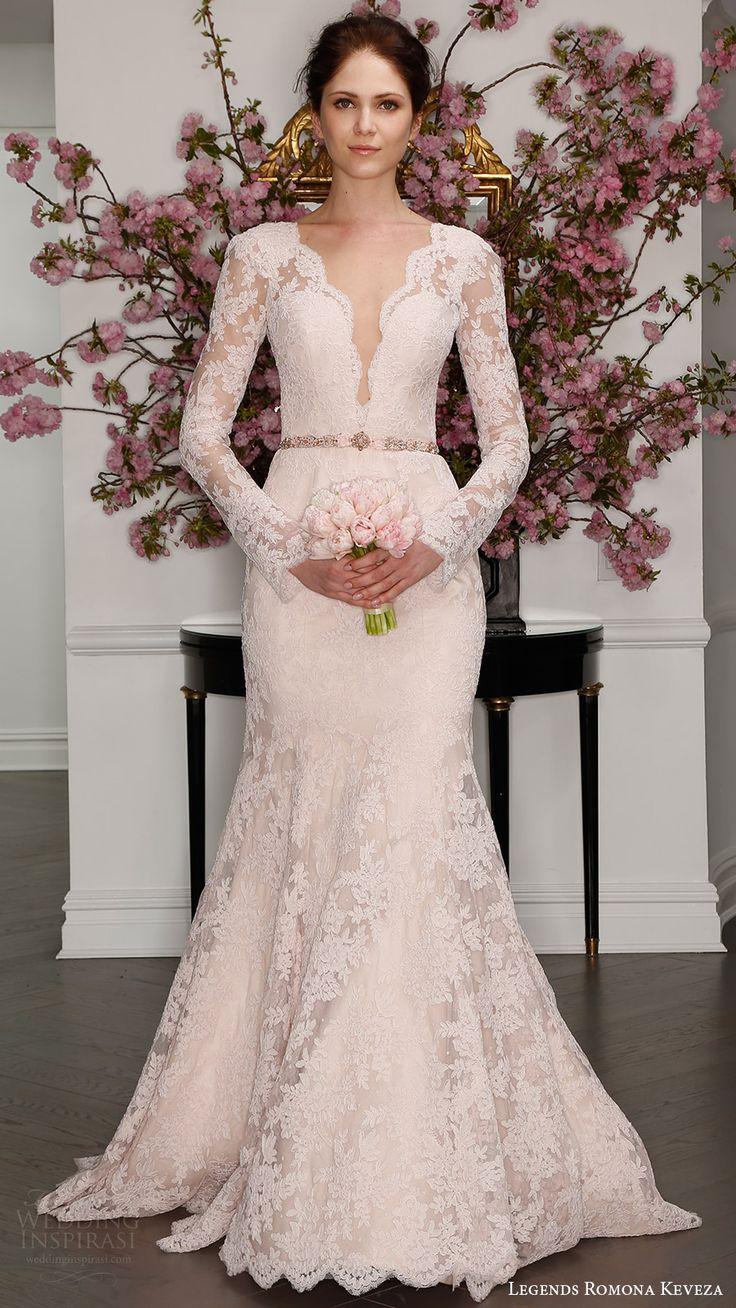 illusion long sleeves deep v lace trumpet wedding dress (l7126) mv blush color