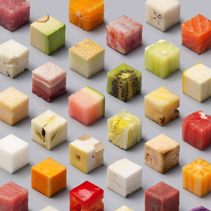 a variety of unprocessed foods cut into uncannily precise 25cm cubes by lernert sander