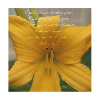 #Luke 12:27 Yellow Lily Wood Wall Decor - #flower gifts floral flowers diy