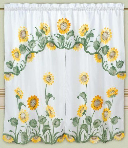 High Quality DreamHome   Arianau0027s Sunflowers Kitchen Curtain, White By DreamHome.  $12.99. Save 35%
