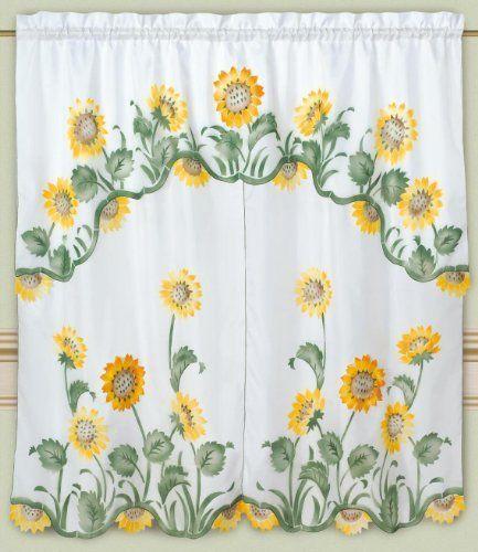 DreamHome - Arianau0027s Sunflowers Kitchen Curtain, White by DreamHome.  $12.99. Save 35%