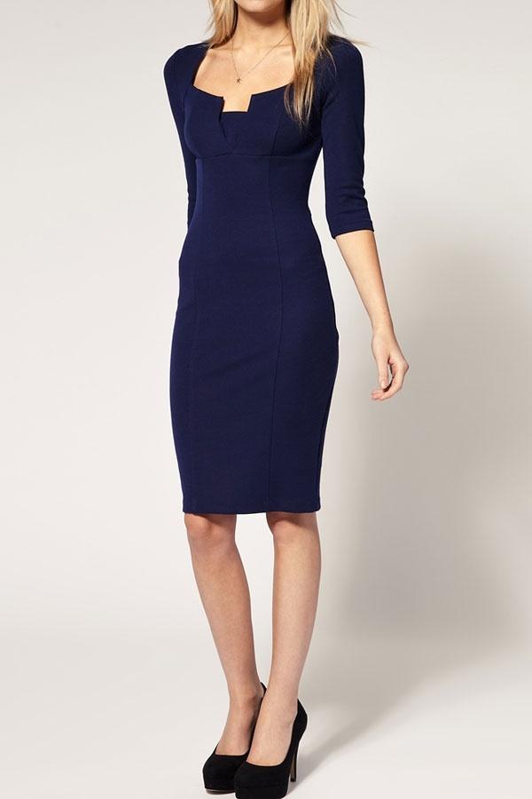 Elegant 7/10 Sleeve Square Neck Dress