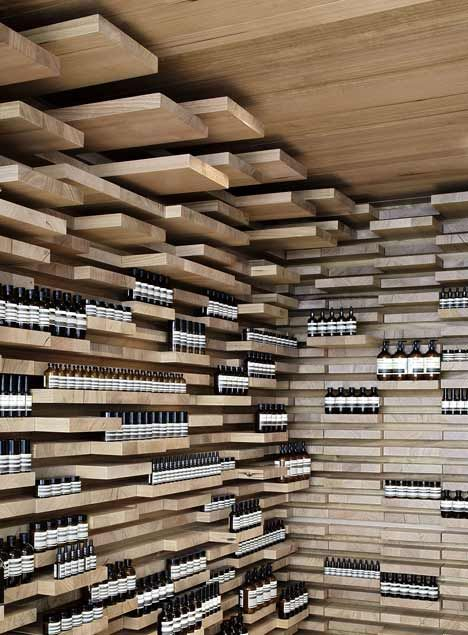 Aesop Saint-Honore by March Studio The walls, floor and ceiling of this store in Paris by Melbourne practice March Studio are covered by 3,500 pieces of wood.