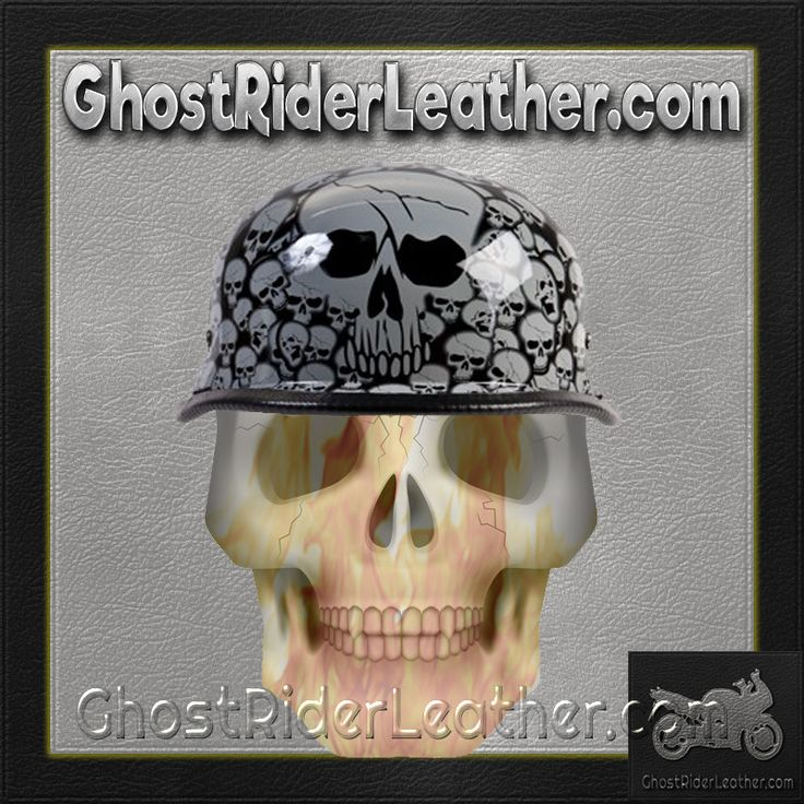 Grey Boneyard Skulls German Novelty Motorcycle Helmet / SKU USA-H5402-GREY-DL