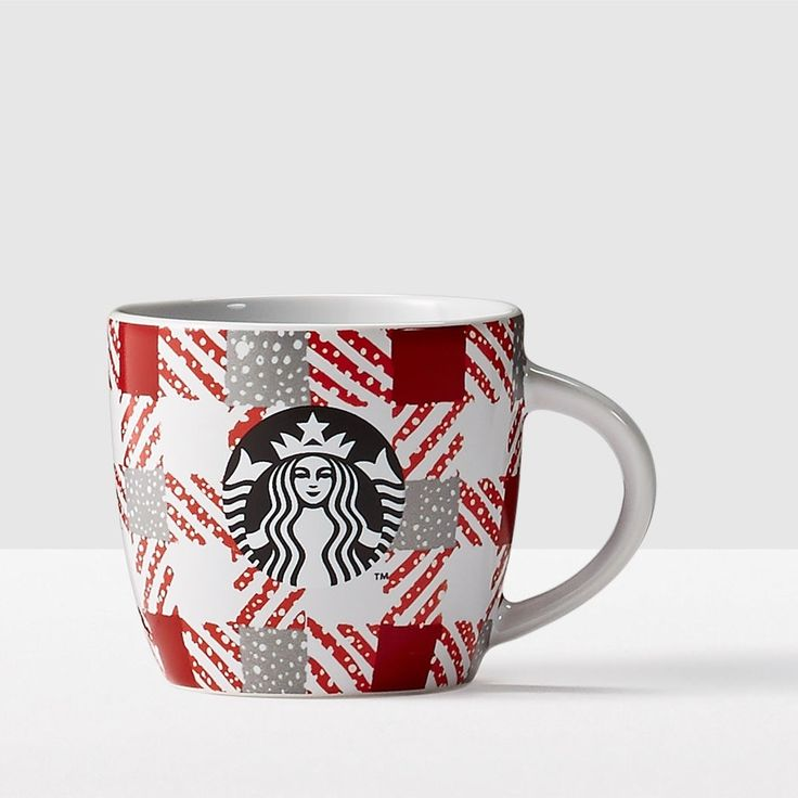 Red Plaid Ceramic Demi Mug. The perfect gift for those who know that a little espresso goes a long way.