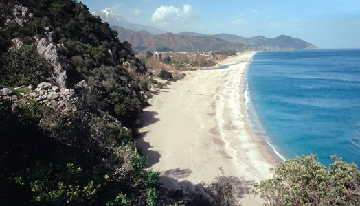 Cirali Beach, Cirali - This delightful beach is set between two steep rocky hills and is the most unspoilt areas in the Mediterranean. This is also a popular nesting spot for the loggerhead turtle.