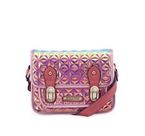 Růžová holografická kabelka s plastickým vzorem LYDC