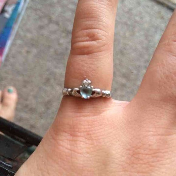 Size 6.5 blue claddagh ring Beautiful. Brand new. Ordered a size 7 but they sent wrong size. December birth stone. Irish pride. Clatter ring. Jewelry Rings