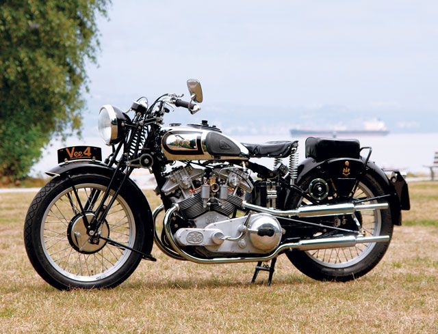 Dan Smith's 1935 AJS V4 replica based on the prototype of a motorcycle AJS never offered for sale. (Photo by Aaron Steadman, Motorcycle Classics Jan/Feb. 2011)