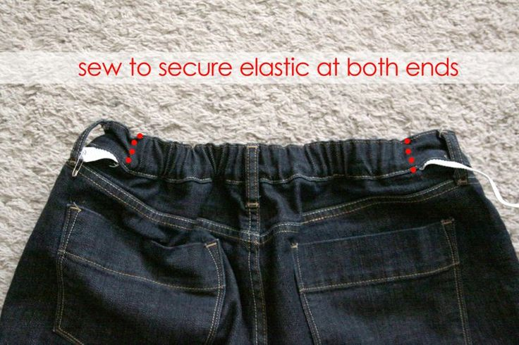 no more saggy jeans easy waistbandfix, sew elastic into jeans to fix the sag in the back of pants