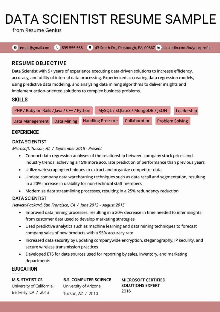 Data Scientist Entry Level Resume Beautiful Data Scientist