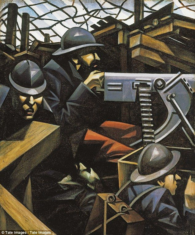 La Mitrailleuse by C.R.W. Nevinson, 1915 http://www.dailymail.co.uk/news/article-2568453/The-Great-War-In-Portraits-National-Portrait-Gallery-marks-centenary-deadly-conflict-remarkable-display.html