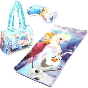 Disney Frozen Anna Elsa Olaf 3 Piece Slumber Set Sleeping Bag Mask Purse
