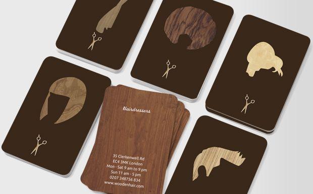 Wood Cut Elegance - hairdresser business cards - UK Moo