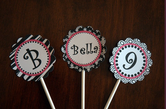 Black, pink and white cupcake toppers zebra teen party