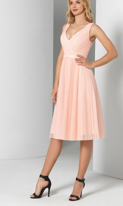Robe mariee courte rose poudre