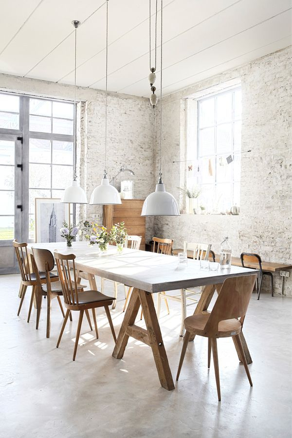 Inspiration in White: WhiteBrick dining room,natural wood, sawhorse legs of dining table