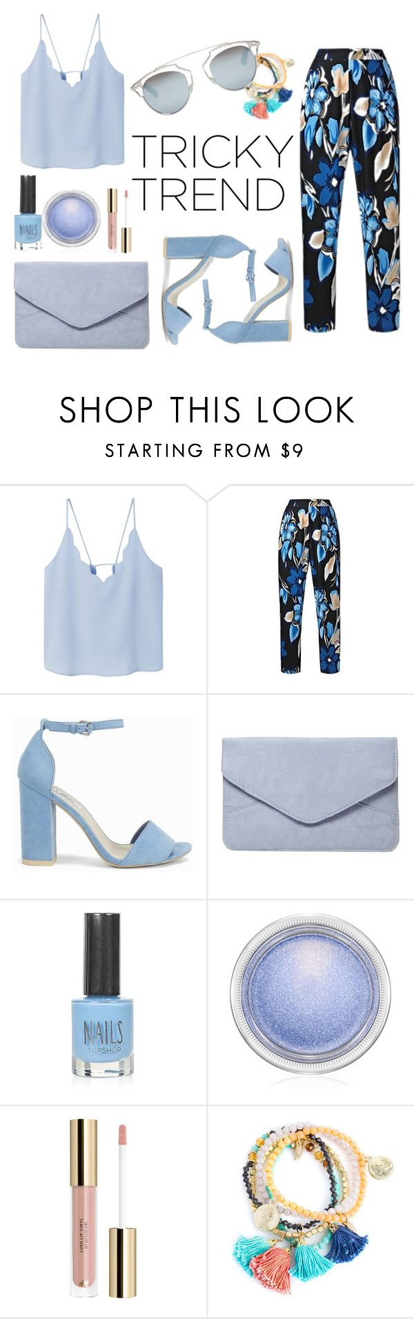 """""""blue denim"""" by zahrohusna on Polyvore featuring MANGO, Nly Shoes, Dorothy Perkins, Topshop, MAC Cosmetics, Christian Dior and culottes"""