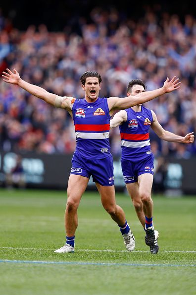 Tom Boyd of the Bulldogs celebrates a goal during the 2016 AFL Grand Final match between the Sydney Swans and the Western Bulldogs at Melbourne...