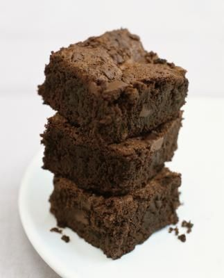 Making Brownies from Chocolate Cake Mix.  My son said that these were the best brownies that he has ever had!