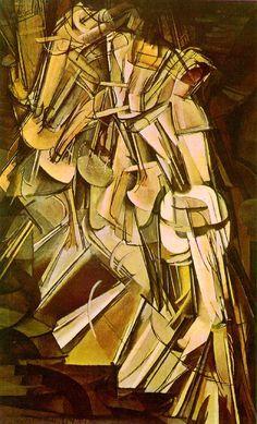Marcel Duchamp, Nu descendant un escalier (1912). Retranscription d'une action grâce à la déformation d'un sujet dans un déplacement. Mouvement créé par la dynamique et la complexité de la représentation.