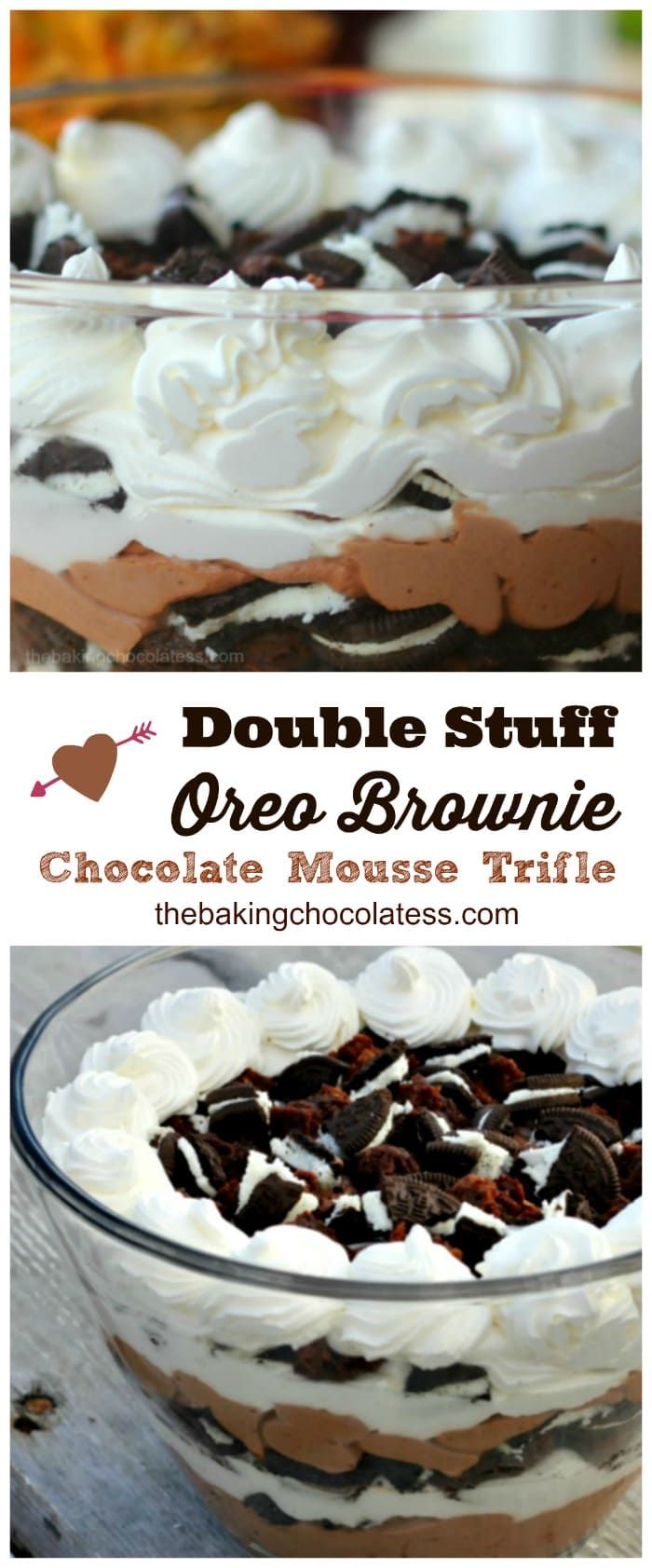 Double Stuff Oreo Brownie Chocolate Mousse Trifle is all about impressing.  Lots of fresh whipped cream, lots of double stuff Oreos, rich chocolate mousse and fudgy BROWNIES!!   via @https://www.pinterest.com/BaknChocolaTess/
