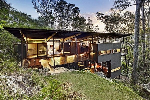 Difficult but not impossible... modern home tackles an old problem - how to build on a sloping block. Photo: Michael Nicholson.