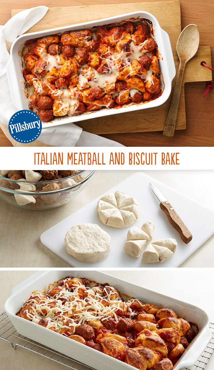 Just four convenient ingredients bake into hearty family-size comfort food! This Italian Meatball and Biscuit Bake says easy weeknight dinner all over it.