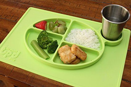 Amazon.com : ChooseMyPlate - all-in-one Silicone Placemat with cup holder and nutritional guidelines for babies, toddlers, and kids - BPA free non-slip food divider dinnerware for kids - Color: (Orange) : Baby