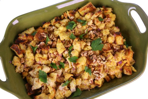 Michael Symon from The Chew's basic Thanksgiving Stuffing - very moist. Make day before and bake on Tday