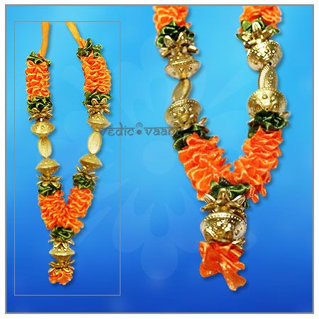 Artificial Flower Haar Garlands, Deity Flower Mala Vedicvaani.com Antic Design garlands for god and goddess online, Gemstone Har for Ganpati festivals and Frame Artificial Flower Garlands, Artificial garland made of Satin flowers in orange,green Colour with golden Beads. Garlands have an important and traditional role in every festival, the Gods are decorated with garlands made from different fragrant flowers and leaves.