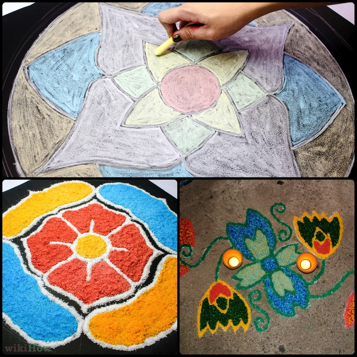 Rangoli - traditionally part of the Diwali ceremony.  There's a lot of flexibility in how these are made.  In addition to being fun and beautiful, this could be a good opportunity to teach campers about the Indian and Hindu cultures.  I'm all for cultivating globally-minded kids.