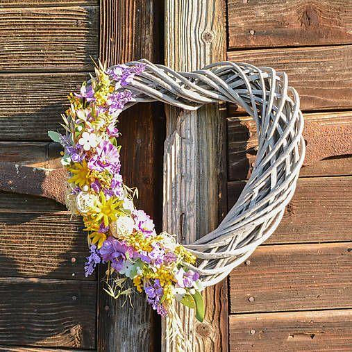 Hydrangea / Celoročné prútené srdce na dvere