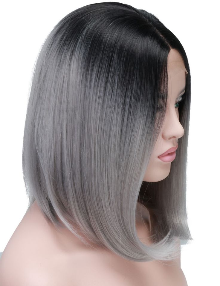 ==> [Free Shipping] Buy Best COLODO Ombre Two Tone Synthetic Grey Hair Wigs Natural Bob Cut Silky Straight Heat Resistant Silver Wigs For Black Women Online with LOWEST Price | 32806889264