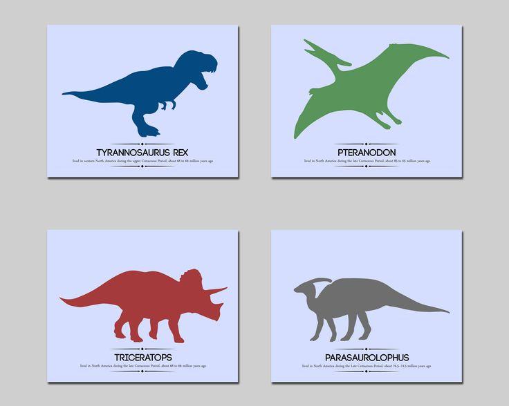 Dinosaur printable nursery wall art set custom colors, boys room dinosaur wall decor, kids room t-rex art set download by AlexanderAndJJ on Etsy