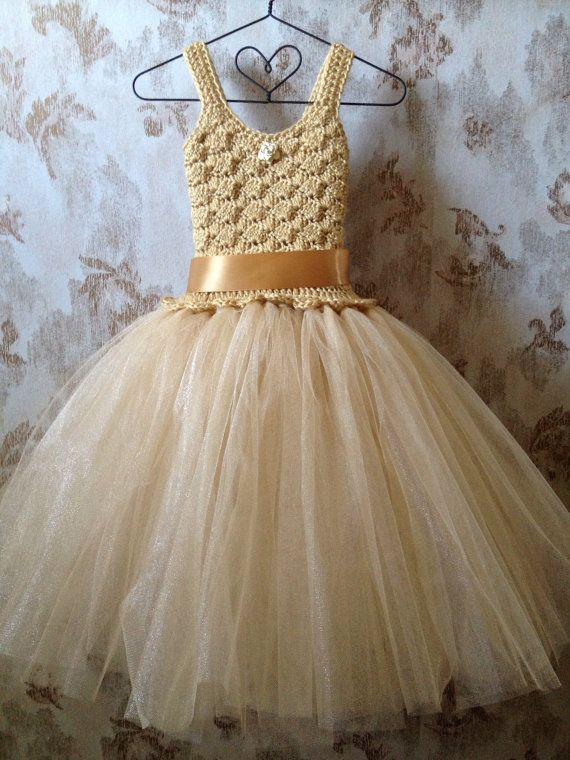 Gold flower girl tutu dress flower girl dress tutu dress by Qt2t, $85.00