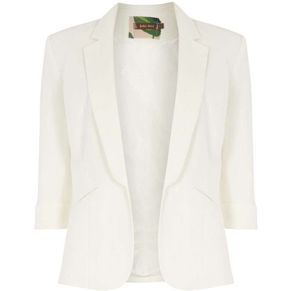 **Jolie Moi Cream 3/4 Sleeve Open Blazer ($61) ❤ liked on Polyvore featuring outerwear, jackets, blazers, cream, three quarter sleeve blazer, blazer jacket, white blazer, three quarter sleeve jacket and white blazer jacket