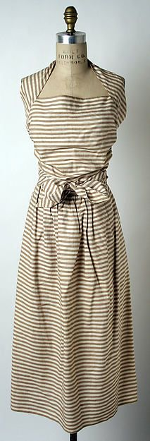 Sundress Designer: Claire McCardell (American, 1905–1958) Manufacturer: Townley Frocks (American) Date: 1944 Culture: American Medium: cotton Dimensions: Length: 50 in. (127 cm)