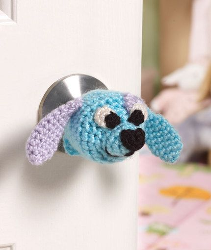 "Doggie Doorknob Cozy - Free Amigurumi Crochet Pattern - PDF File click "" download Printable Instructions"" below picture here: http://www.redheart.com/free-patterns/doggie-doorknob-cozy"