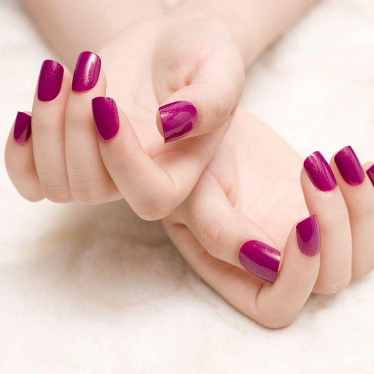 Claret-red Dark Purple Rose False Nails 24pcs Short Solid Fake Nail Tips valse nagels wijn rood Z379