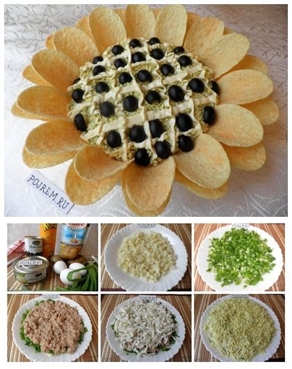 The salad in ready condition really looks like a sunflower. Very simple to prepare, but in the original submission will be a bright salad decoration of any holiday table. If you want to surprise your guests and please yourself, try this dish. I wish the salad will give you unforgettable taste. Ingredients (for reference): Cod liver oil Potatoes Green onions Eggs Chips Olives, pitted Mayonnaise Instructions: Boil the potatoes and eggs, cool and clean. Finely chop the potatoes and place in…