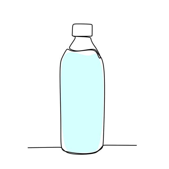 Gambar Berterusan Garis Lukisan Minimalis Botol Minuman ...