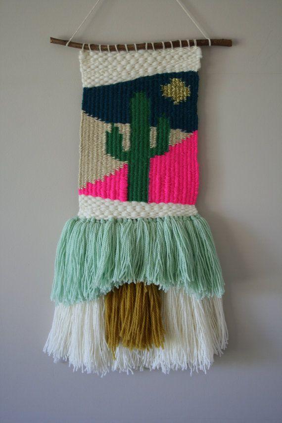 telares cactus desierto en tienda estsy de RoisinDubhDesigns