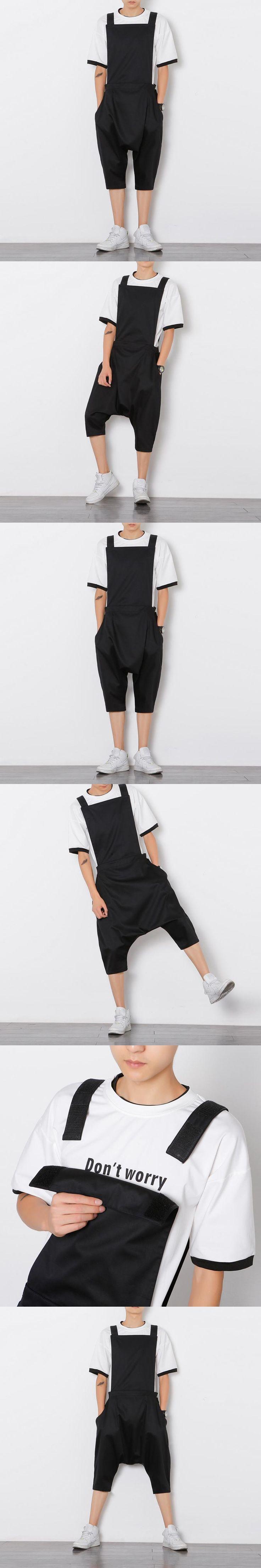 2017 Plus Size Men Jumpsuit Fashion Male Bib Pants Overalls Casual Loose Harem Pants Hip-Hop Low Crotch Trousers Black Jumpsuit