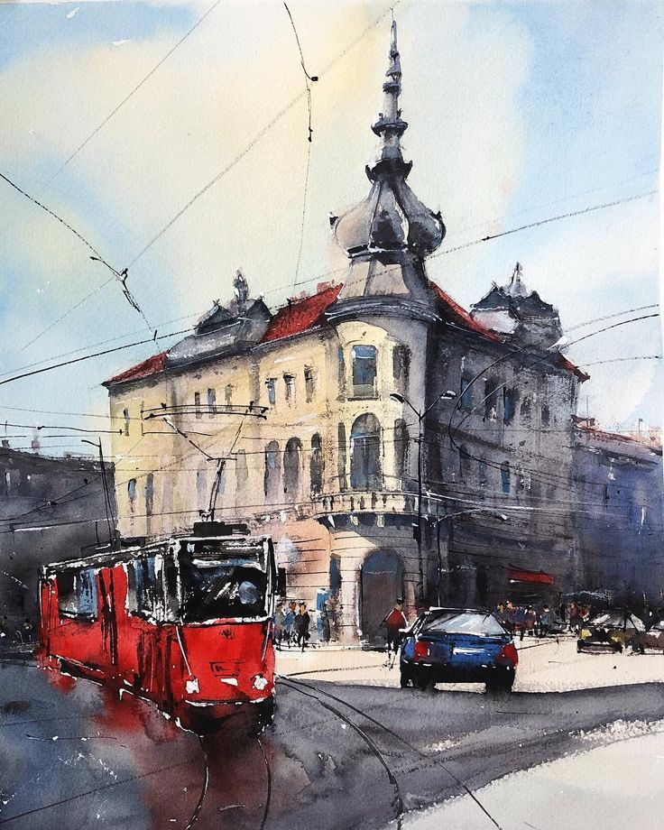 Babos Palace, Cluj  #watercolor  #watercolorpainting