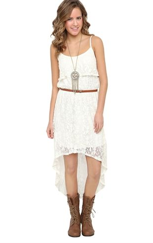 White High Low Casual Dress