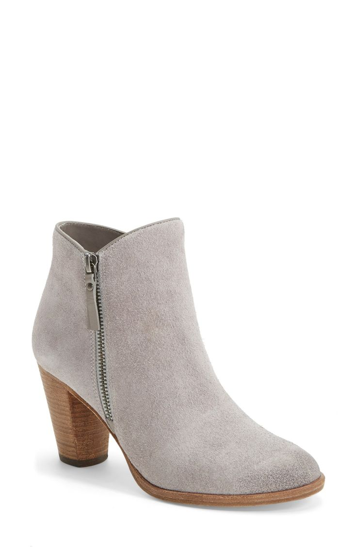 The minimal-chic style of these grey suede booties makes them perfect for everyday wear.
