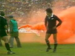 The third test at Eden Park, Auckland on September 12th 1981, is remembered for the flares and flour bombs dropped onto the pitch from a light plane. Outside the ground, violence erupted on an unprecedented scale.